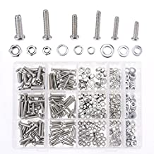 Hilitchi 510Pcs M4 / 5 / 6 Stainless Steel Phillips Pan Head Bolts Screws Nuts Flat and Lock Washers Assortment Kit (Phillips Pan Head) (Phillips Pan Head)