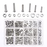 Hilitchi 510Pcs M4 / 5 / 6 Stainless Steel Phillips Pan Head Bolts Screws Nuts Flat and Lock Washers Assortment Kit (Phillips Pan Head)