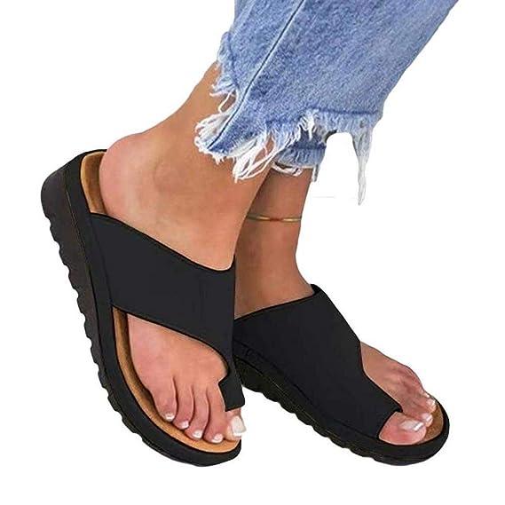 Plataforma de mujer Sandalia de cuña Corjetes de zapatillas de juanete correctas para la corrección del hueso del dedo gordo del pie, Zapatillas de playa de ...