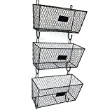 Cypressshop Wall Mounted Letter Storage Mail Rack Wire Magazine Metal Basket Organizer Vintage Style Triple Baskets Set of 3 Pieces Home Furniture