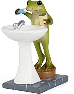 Tfro & Cile Fairy Garden Animal Statue Outdoor Miniature Brushing Teeth Frog Figurine - 2.2 Inch Height