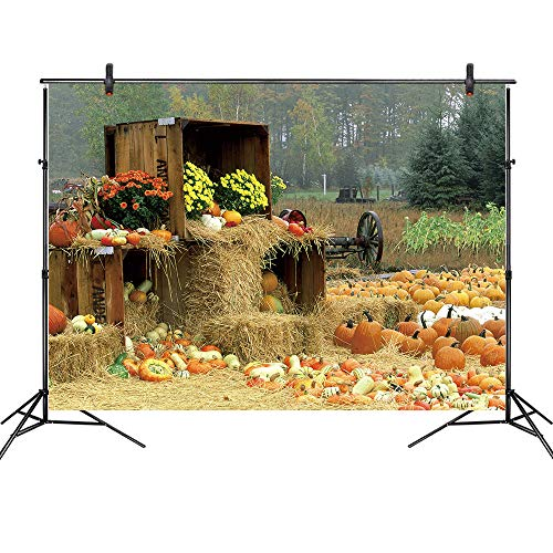 LB 7x5ft Vinyl Fall Thanksgiving Backdrop for Photography,Rustic Farm with Pumpkin Background Autumn Harvest Backdrop for Photoshoot, Event Portrait, Photo Booth
