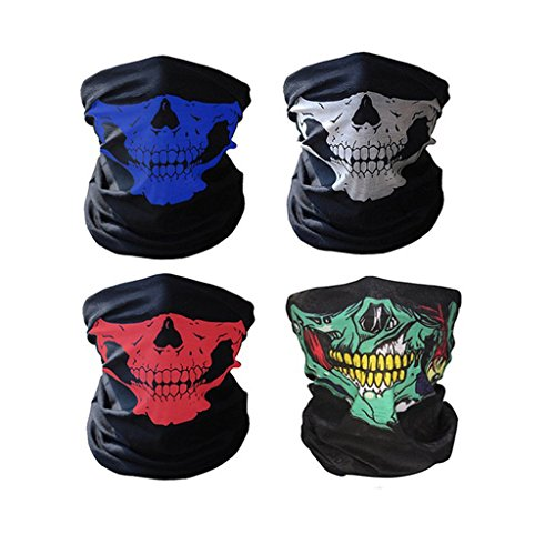 Swesy 4 Pack Seamless Tube Skull Cycling Face Mask - Breathable Windproof Tube Face Mask Half Face for Outdoor Riding