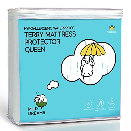 Milddreams Waterproof Mattress Protector Cover Queen Size (60x80+18 inch Deep Pocket) - Plastic Bed Cover - Waterproof Fitted Sheet