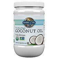 Garden of Life Aceite de coco extra virgen orgánico - Aceite de coco planchado en frío sin refinar para cabello, piel y cocina, 14 onzas
