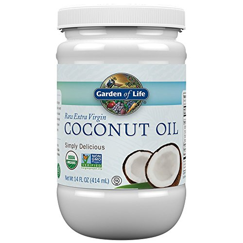 Garden of Life Organic Extra Virgin Coconut Oil - Unrefined Cold Pressed Coconut Oil for Hair, Skin and Cooking, 14 ()