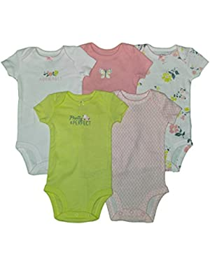Carters Baby Girls 5 Pack Bodysuits (Baby) - Pretty Perfect Adorable-3M