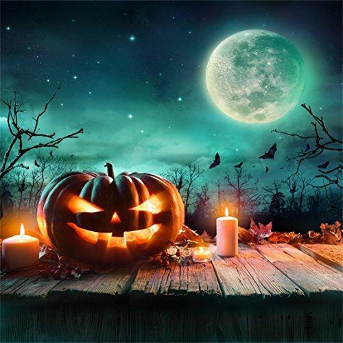 AOFOTO 5x5ft Halloween Pumpkin Backdrop Jack-o-lantern Photography Background