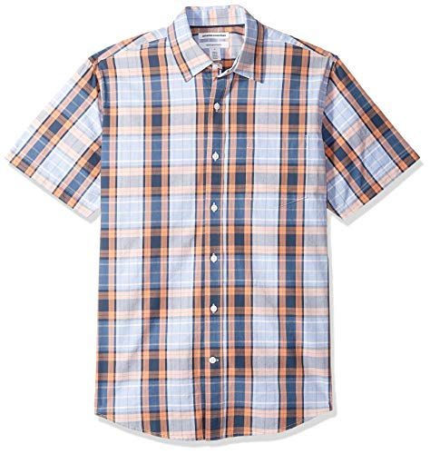 Amazon Essentials Men's Regular-Fit Short-Sleeve Plaid Casual Poplin Shirt, Coral/Navy, Medium