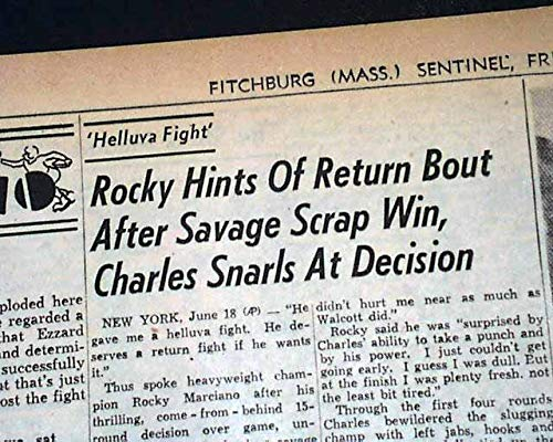 Boxing Title Fight vs. Ezzard Charles 1954 Old Newspaper FITCHBURG SENTINEL, Mass, June 18, 1954 ()