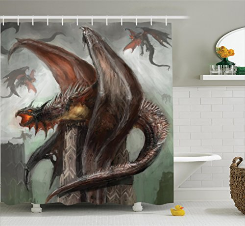 Ambesonne Fantasy World Decor Collection, Dragons in Battle at War Fire-Spewing Reptilian Serpent Beast Animal Monster Theme, Polyester Fabric Bathroom Shower Curtain Set with Hooks, Brown Blue