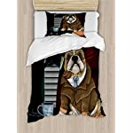 Ambesonne English Bulldog Duvet Cover Set, Traditional English Detective Dog with a Pipe and Hat Sherlock Holmes Image, Decorative 2 Piece Bedding Set with 1 Pillow Sham, Twin Size, Pale Brown 3