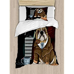Ambesonne English Bulldog Duvet Cover Set, Traditional English Detective Dog with a Pipe and Hat Sherlock Holmes Image, Decorative 2 Piece Bedding Set with 1 Pillow Sham, Twin Size, Pale Brown 10