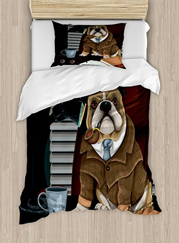 Ambesonne English Bulldog Duvet Cover Set, Traditional English Detective Dog with a Pipe and Hat Sherlock Holmes Image, Decorative 2 Piece Bedding Set with 1 Pillow Sham, Twin Size, Pale Brown 1
