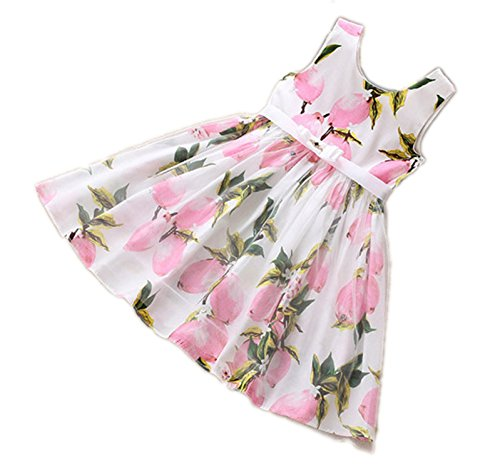 Taka Lloyd Vest Style Summer Children Dress Cute Girl Dress Of The Immeasurably Popular Fashion Lemon Printed Cotton Sleeveless Beach Dress Dress - Compressor Vest