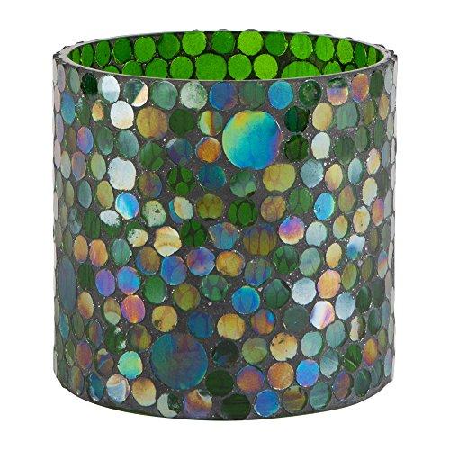 Tag Green Blue Mosaic Glass Votive 5