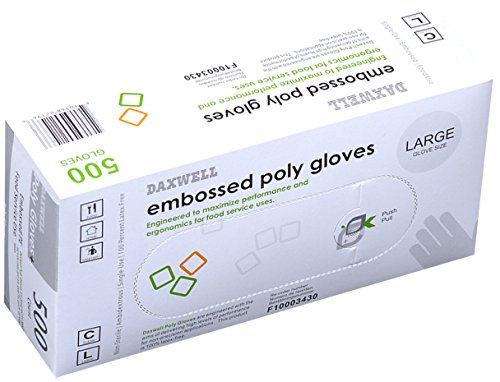 Daxwell Embossed Poly Gloves, Large (Box of 500 Gloves)