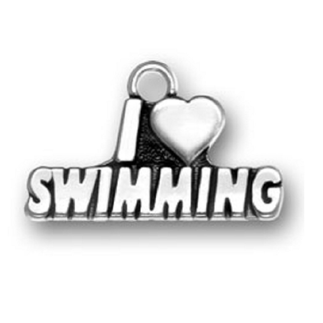 Sterling Silver Girls .8mm Box Chain I LOVE SWIMMING Word Pendant Necklace