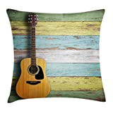 Cheap Ambesonne Music Decor Throw Pillow Cushion Cover, Acoustic Guitar on Colorful Painted Aged Wooden Planks Rustic Country Decor, Decorative Square Accent Pillow Case, 24 X 24 Inches, Multicolor