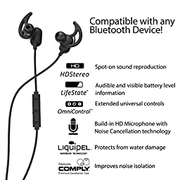 Phaiser BHS-760 Bluetooth Headphones Headset Sport Earphones with Mic and Lifetime Sweatproof Guarantee - Wireless Earbuds for Running, Blackout