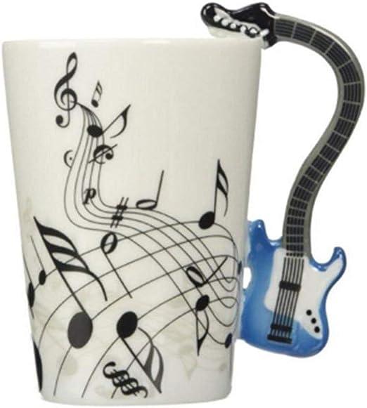 ufengke Creativo Guitarra Azul Tazas Mug De Porcelana Tazas De ...
