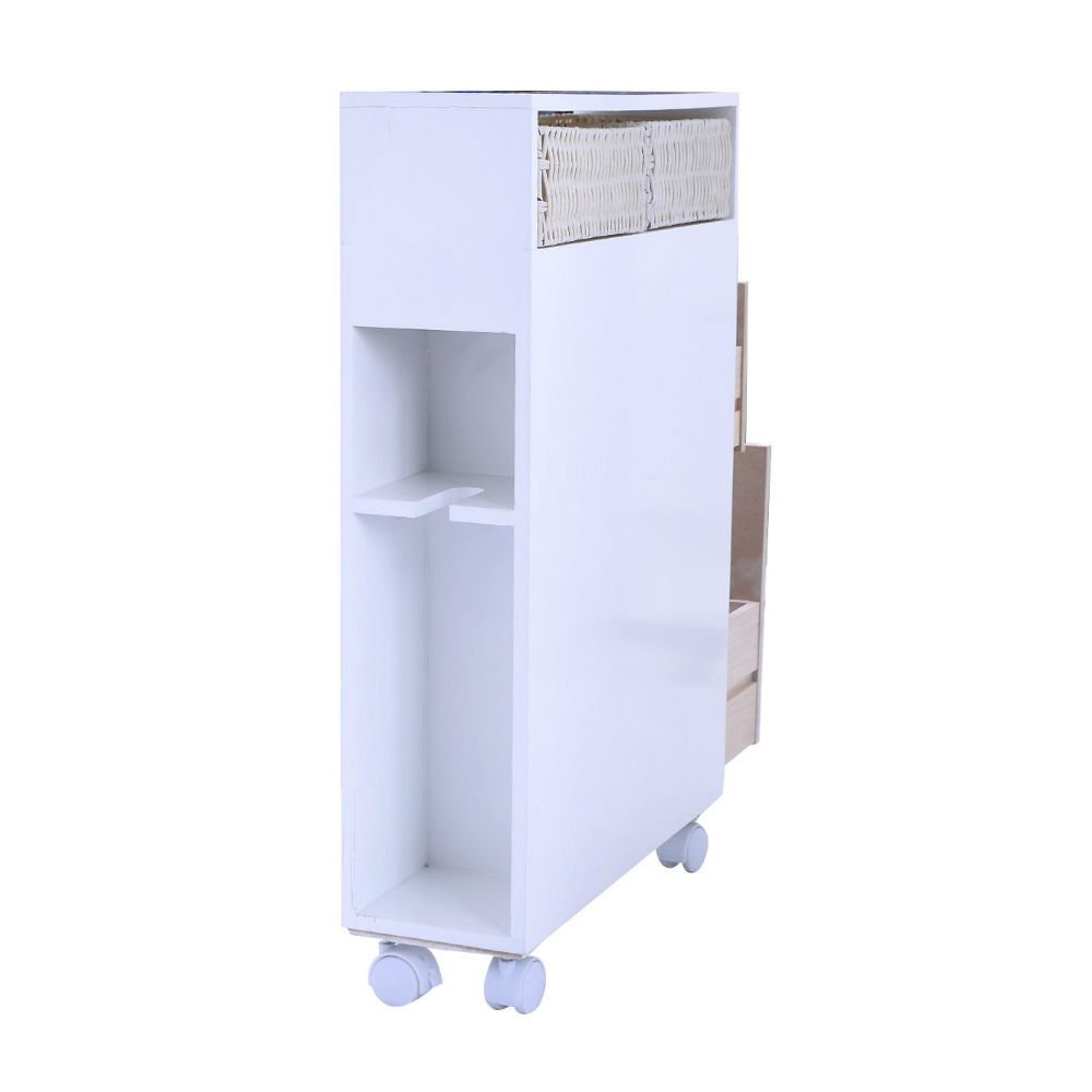 Amazon.com: Narrow Wood Floor Bathroom Storage Cabinet Holder ...