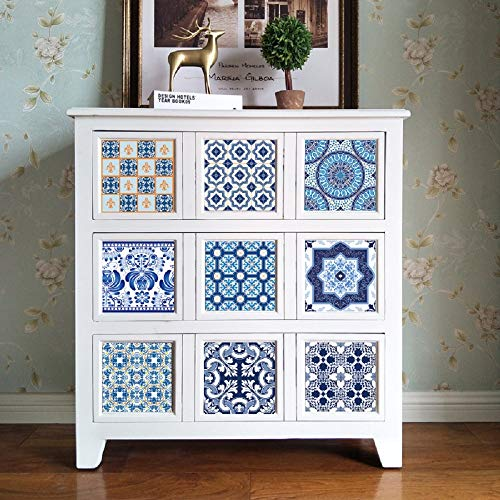 Tile Stickers Chinese Blue And White Porcelain Blue And White Tile Tiling Wall Wallpaper Wallpaper Kitchen Oil Stickers Tile Kitchen Bathroom Stick On Wall ( Color : Multi-colored , Size : 2020 )