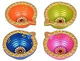 Flat 50% Off - Diwali Diya Set of 4 Traditional Lights Decorations Earthen Terracotta Oil Lamps Tealight Candle Holder Deepawali Handmade Great Gift Ideas