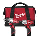 "Milwaukee 2494-22 M12 Cordless Combination 3/8"" Drill / Driver and 1/4"" Hex Impact Driver Dual Power Tool Kit (2 Lithium Ion Batteries, Charger, and Bag Included)"