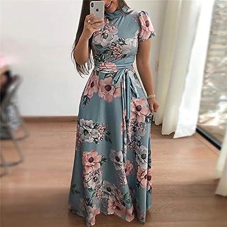 aa5d635fe8 MIJIN Women Long Maxi Dress 2019 Boho Floral Print Summer Dress Casual  Short Sleeve Turtleneck Bandage