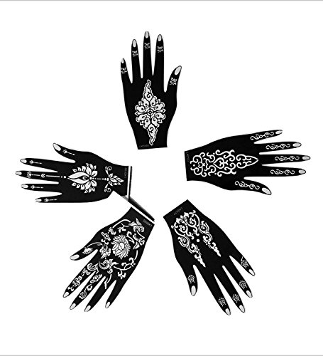 5pc RIGHT HAND ENCHANTED Indian Arabian Tattoo Reusable Stencil Stickers To Draw Around By LAMINAU