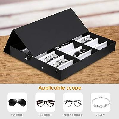 amzdeal Caja para Gafas de Sol Caja de Almacenaje Plegable con Tapa para 16 Anteojos, Caja de Exposición: Amazon.es: Equipaje