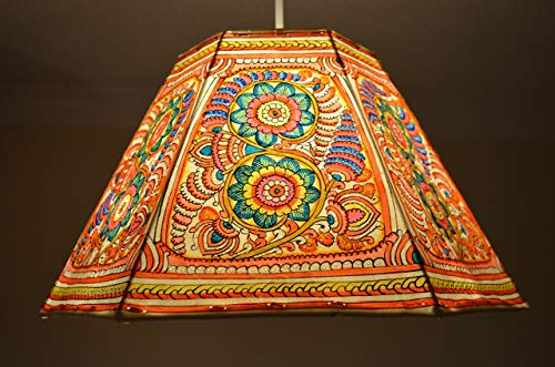 Large Ceiling Lampshade in Spring Floral Pattern   Multi Color Garden Pendant Shade   Handmade Leather Night Light Shade   24CM Height & 40CM Width