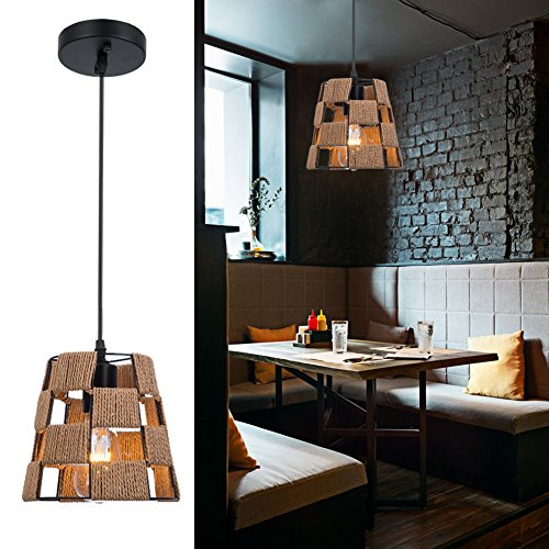 Barrel Shade Chandelier Lighting,Antique 1-Light Pendant Light with Cutout Shade for Dining Room,Kitchen - Inspired Cut Out