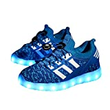 Kids Led Light Up Shoes Flashing Rechargeable Children Sports Dancing Sneakers.?Blue 4 M US Big Kid?