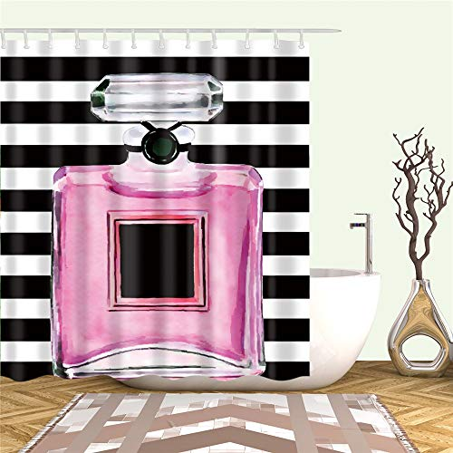 Bartori Shower Curtain with Hooks Inside A Large Pink Perfume Bottle Like Chanel N5 Sephora Style Background Waterproof Polyester Fabric Bath Curtain 71''X71'' (Chanel Like)