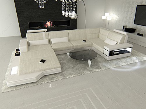 Fabric Leather Mix Sectional Sofa MESSANA