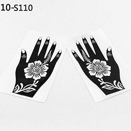 2 Pcs Henna Stencil Temporary Hand Tattoo Body Arts Sticker Template Tools - 110 KaariFirefly