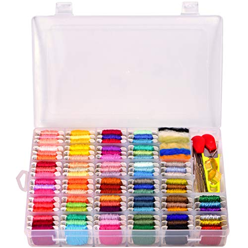 Embroidery Floss with Storage Box- Cross Stitch Threads kit - Friendship Bracelets Floss - Crafts Floss - 158 String Kits with Number Stickers and Free Set of 25 Cross Stitch Kits