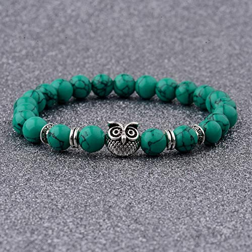 Werrox Fashion Mens Women s Natural Lava Stone Owl 8MM Beads Charm Bracelets Jewelry | Model BRCLT - 3104 |