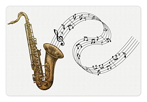 Lunarable Saxophone Pet Mat for Food and Water, Jazz Blues Concert Band Rock and Roll Clarinet Pop Punk Retro Tempo, Rectangle Non-Slip Rubber Mat for Dogs and Cats, Pale Brown Black