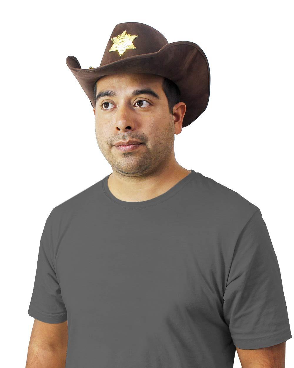Disfraz de Fiesta con Trenza de Oro para Halloween Fiestas de Oficina Juvale Sombrero de Vaquero de Fieltro