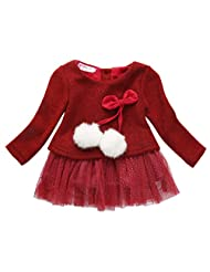 Baby Girls Long Sleeve Knit Bow Tutu Princess Party Dress Clothes