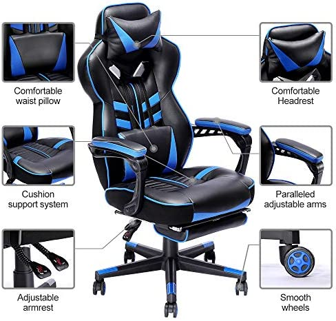 Bonzy Home Gaming Chair Office Desk Computer Chairs with Footrest Adult High Back Armrest Ergonomic Design with Adjustable Height and Lumbar(Blue) 51gME1h CBL