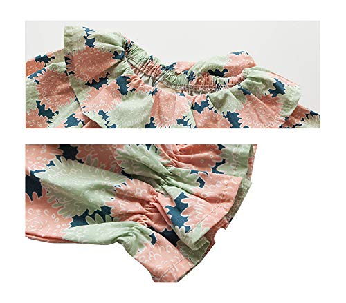 Mornyray Toddler Little Girl Floral Printed Long Sleeve Dress Knitted Cardigan Coat Size 73 (Pink) by Mornyray (Image #2)