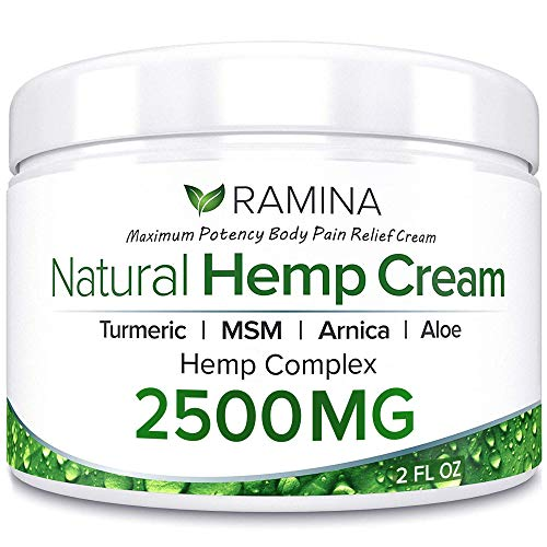 Ramina Natural Hemp Extract Pain Relief Cream - 2500 Mg - Hemp Salve Contains Turmeric, MSM & Arnica - Relieves Inflammation, Muscle, Joint, Back, Knee, Nerves & Arthritis Pain - Made in USA - Non-GMO (Best Way To Relieve Back Muscle Pain)