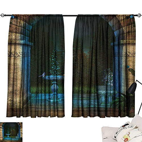 Davishouse Gothic Thermal Insulated Drapes for Kitchen/Bedroom Forest Landscape from Ancient Archway Birds on Fountain Fairytale Illustration Noise -