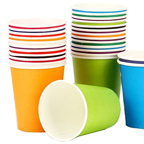 KAIL Holiday Party Disposable Cups, Paper Cups For DIY (Assorted Colors,7 Ounce,50 (7 Oz Hot Cold Cup)