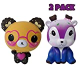 alesTOY Squishies Slow Rising Jumbo Kawaii Cute Glasses Bear + Galaxy Star DeerCreamy Scent for Kids Party Toys Stress Reliever Toy