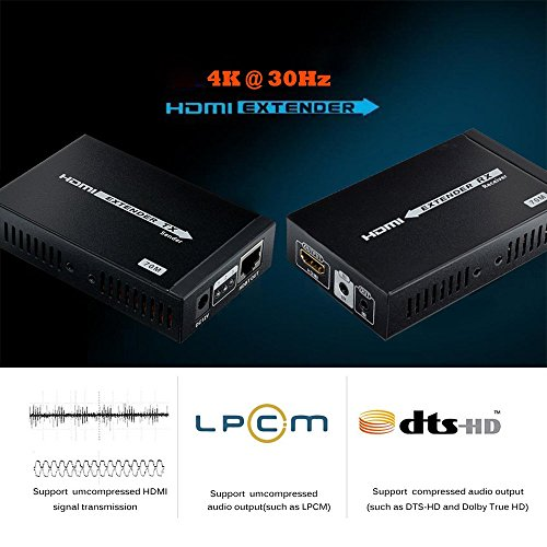4K HDMI Extender 230ft/70m Supports, 3D,1080P, 4K Over Single CAT/6/6A/7 Cable with Bi-Directional IR Remote, POE Transmission by MYPIN (Image #3)